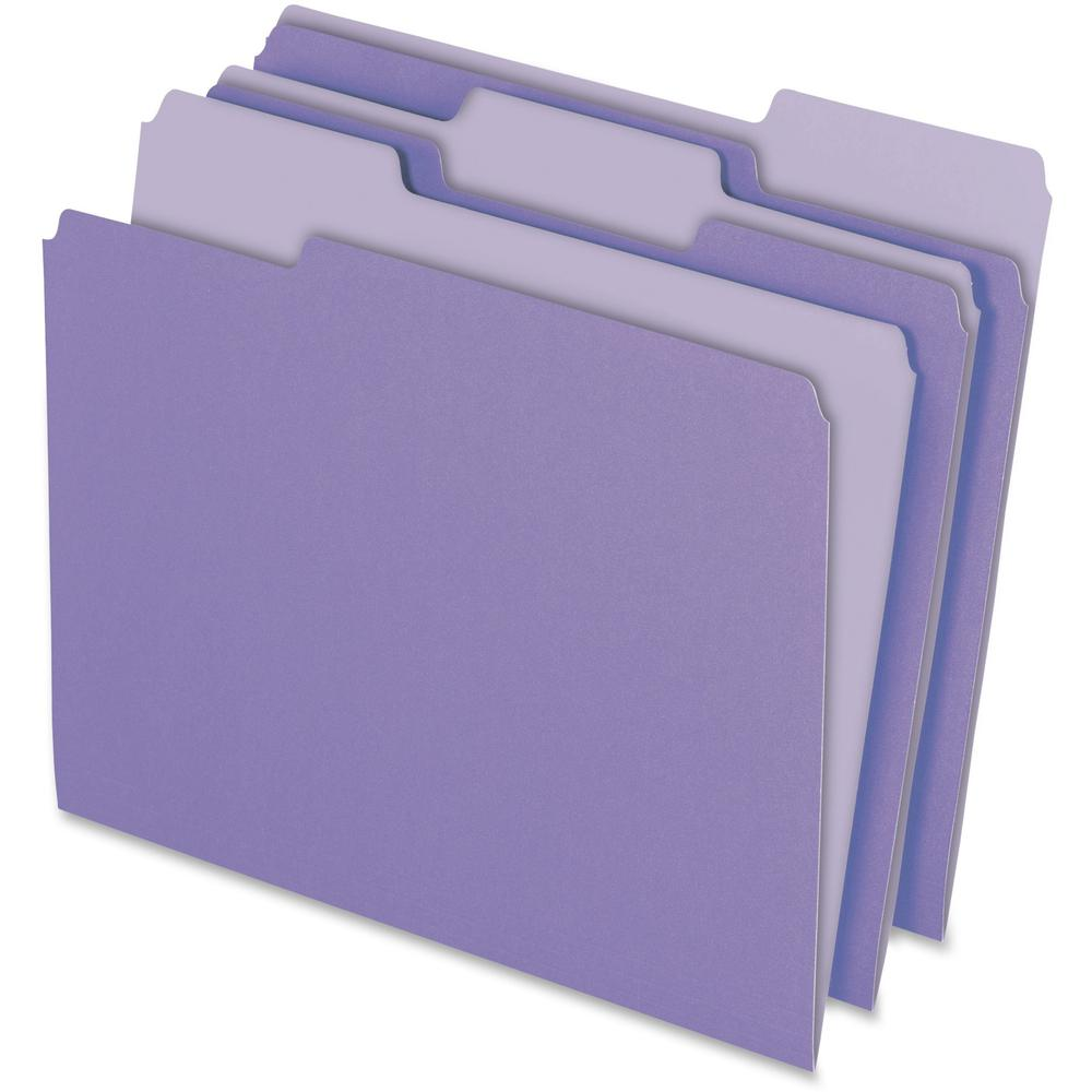 "Pendaflex 1/3 Tab Cut Letter Recycled Top Tab File Folder - 8 1/2"" x 11"" - Top Tab Location - Assorted Position Tab Position - Lavender - 10% - 100 / Box. Picture 1"