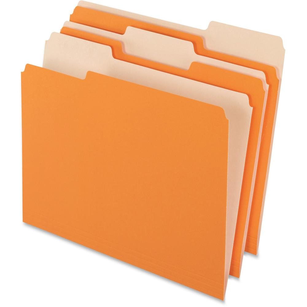 "Pendaflex 1/3 Tab Cut Letter Recycled Top Tab File Folder - 8 1/2"" x 11"" - Top Tab Location - Assorted Position Tab Position - Orange - 10% - 100 / Box. The main picture."