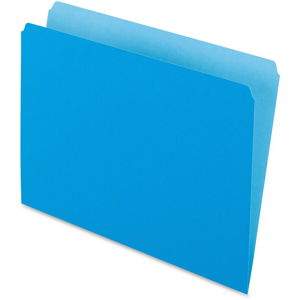 """Pendaflex Letter Recycled Top Tab File Folder - 8 1/2"""" x 11"""" - Blue - 30% - 100 / Box. Picture 1"""