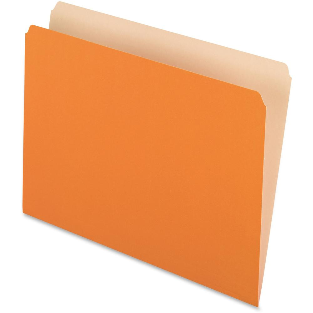"""Pendaflex Straight Cut Colored File Folders - Letter - 8 1/2"""" x 11"""" Sheet Size - 11 pt. Folder Thickness - Orange - Recycled - 100 / Box. Picture 1"""