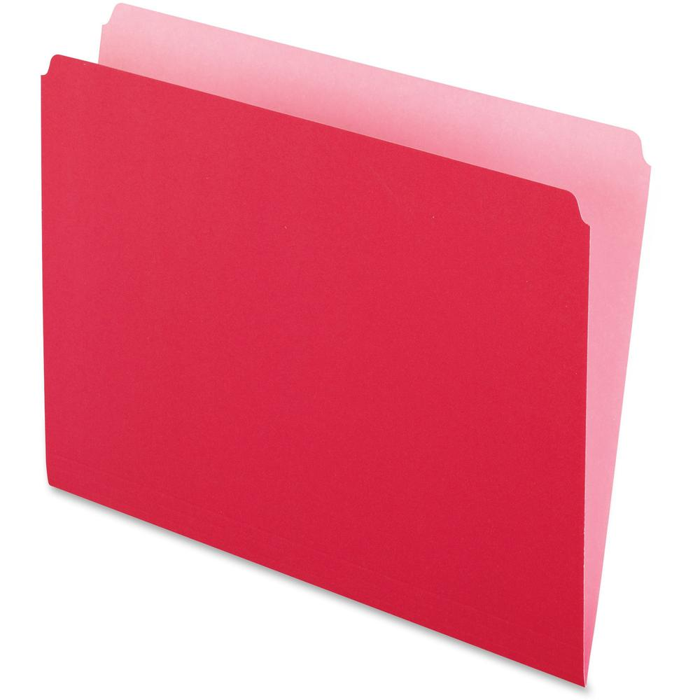 """Pendaflex Straight Cut Colored File Folders - Letter - 8 1/2"""" x 11"""" Sheet Size - 11 pt. Folder Thickness - Red - Recycled - 100 / Box. Picture 1"""