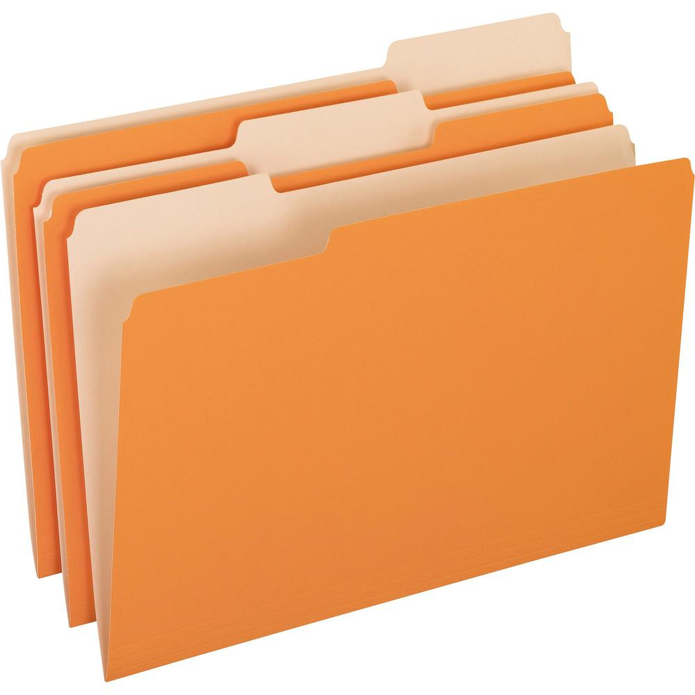 "Pendaflex 1/3 Tab Cut Legal Recycled Top Tab File Folder - 8 1/2"" x 14"" - Top Tab Location - Assorted Position Tab Position - Orange - 10% - 100 / Box. The main picture."