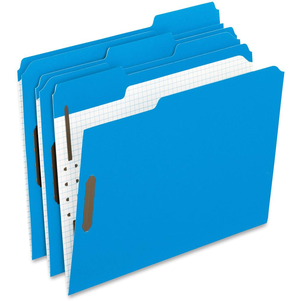 """Pendaflex 1/3 Tab Cut Letter Recycled Top Tab File Folder - 8 1/2"""" x 11"""" - 2"""" Expansion - 2 Fastener(s) - 2"""" Fastener Capacity for Folder - Top Tab Location - Assorted Position Tab Position - Blue - 1. Picture 1"""