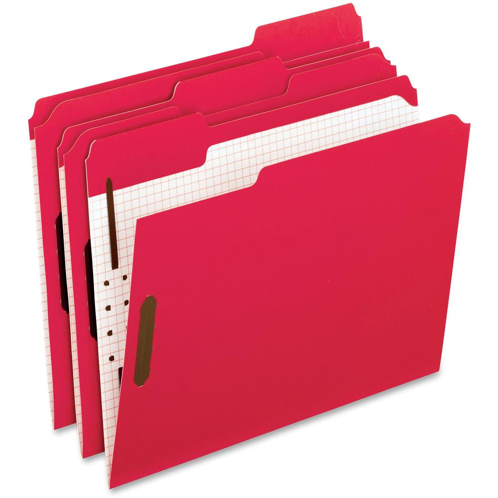 """Pendaflex 1/3 Tab Cut Letter Recycled Top Tab File Folder - 8 1/2"""" x 11"""" - 2"""" Expansion - 2 Fastener(s) - 2"""" Fastener Capacity for Folder - Top Tab Location - Assorted Position Tab Position - Red - 10. Picture 1"""