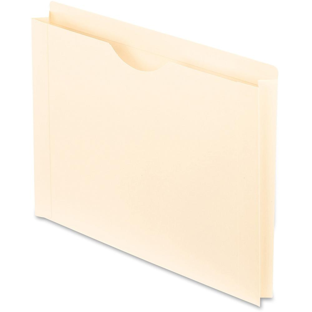 """Pendaflex Manila Reinforced File Jackets - Letter - 8 1/2"""" x 11"""" Sheet Size - 1 1/2"""" Expansion - 11 pt. Folder Thickness - Manila - Manila - Recycled - 50 / Box. Picture 1"""