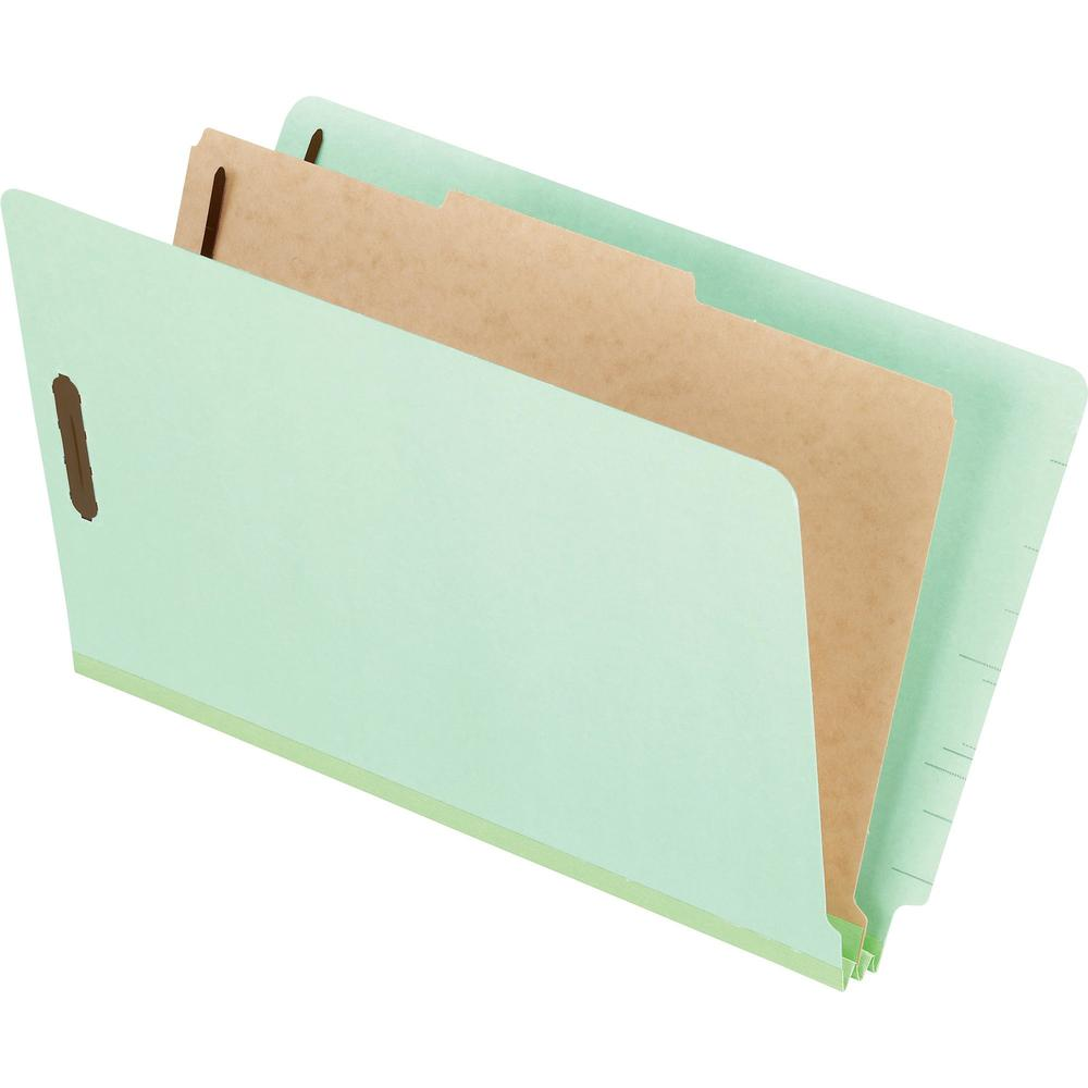 "Pendaflex Pressboard End Tab Classification Folders - Legal - 8 1/2"" x 14"" Sheet Size - 2"" Fastener Capacity for Folder - 1 Divider(s) - 25 pt. Folder Thickness - Pressboard - Light Green - Recycled -"