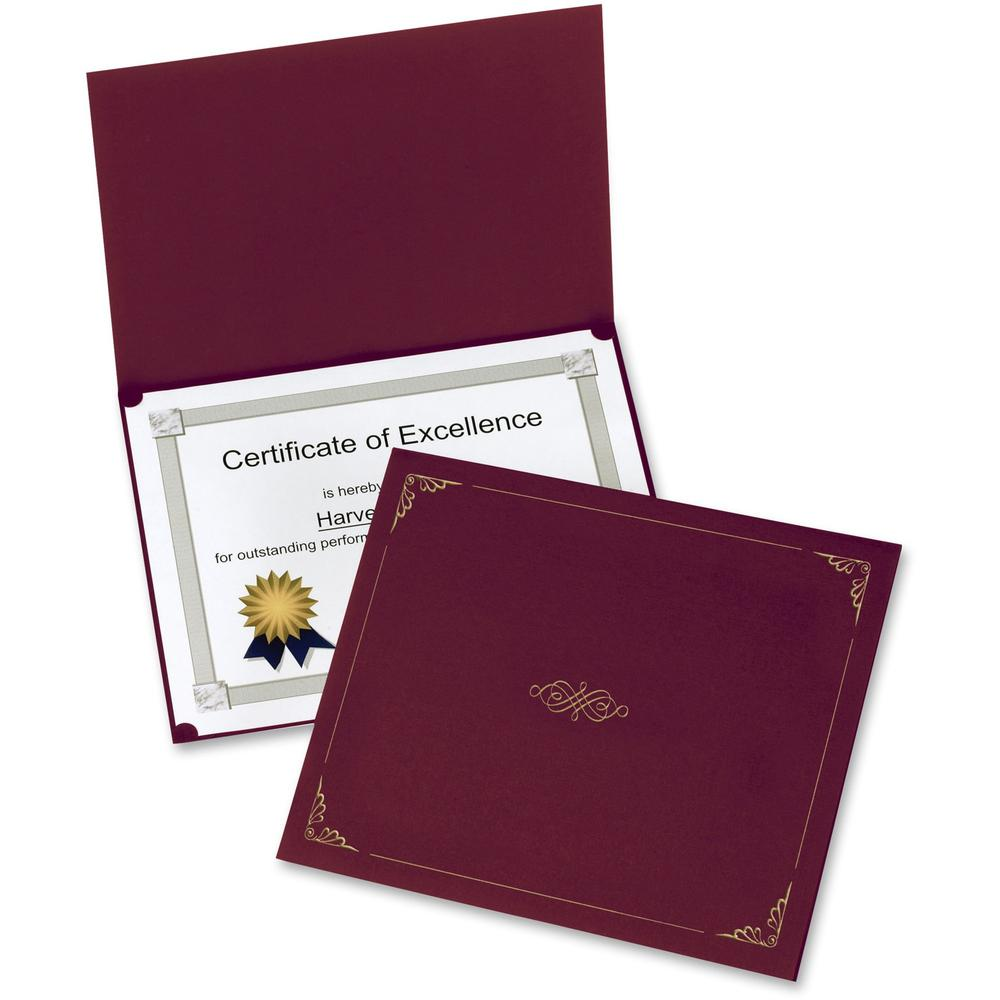 """Oxford Letter Certificate Holder - 8 1/2"""" x 11"""" - Linen - Burgundy - 5 / Pack. Picture 1"""