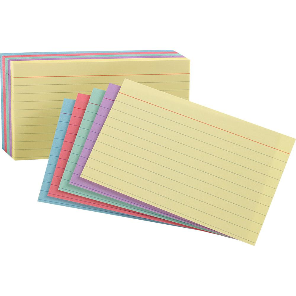 "Oxford Printable Index Card - 10% Recycled - 4"" x 6"" - 100 / Pack - Cherry, Blue, Green, Canary, Violet. Picture 1"