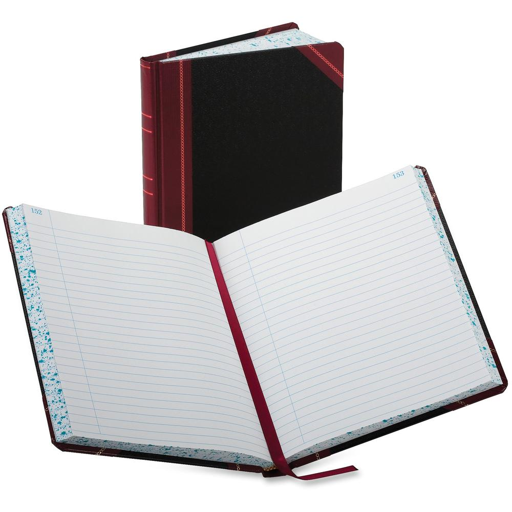 """Boorum & Pease Boorum 38 Series Account Books - 300 Sheet(s) - Thread Sewn - 7 5/8"""" x 9 5/8"""" Sheet Size - Black - White Sheet(s) - Red, Blue Print Color - Black, Red Cover - 1 Each. Picture 1"""