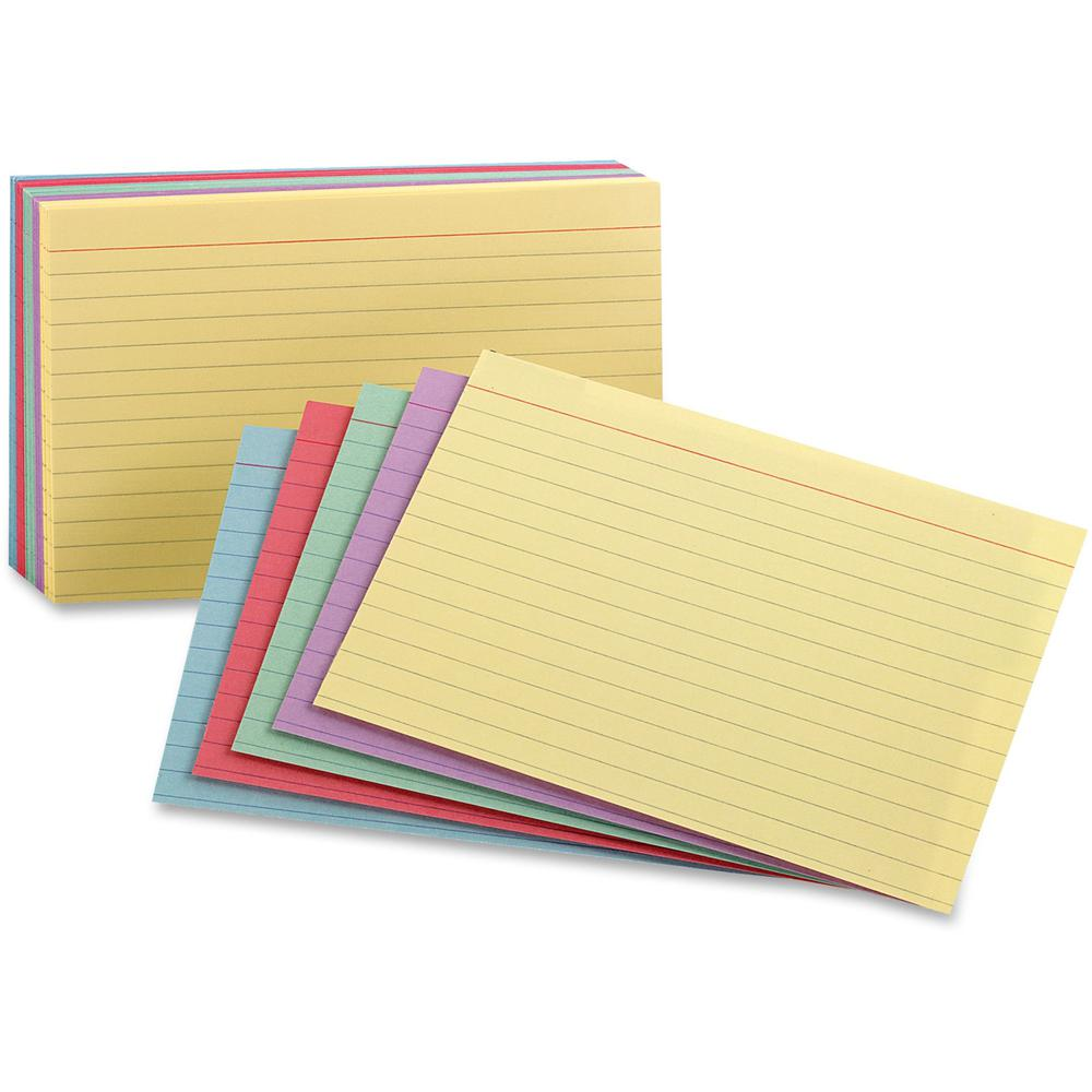 """Oxford Printable Index Card - 10% Recycled - 3"""" x 5"""" - 100 lb Basis Weight - 100 / Pack - Green, Canary, Violet, Blue, Cherry. Picture 1"""