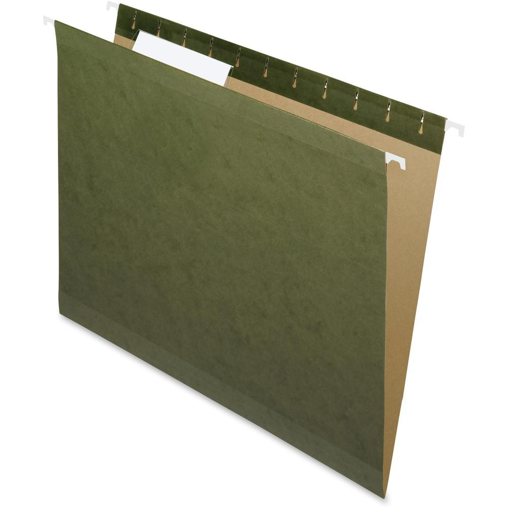 """Pendaflex 1/3 Tab Cut Letter Recycled Hanging Folder - 8 1/2"""" x 11"""" - Assorted Position Tab Position - Standard Green - 10% - 25 / Box. Picture 1"""