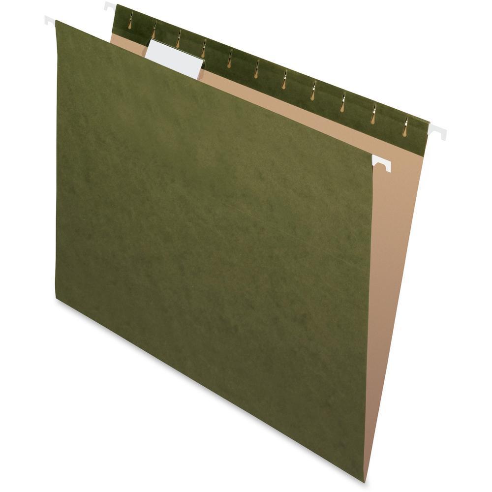 "Pendaflex Reinforced 1/5Cut Hanging Folder - Letter - 8 1/2"" x 11"" Sheet Size - Internal Pocket(s) - 1/5 Tab Cut - Standard Green - Recycled - 25 / Box. Picture 1"