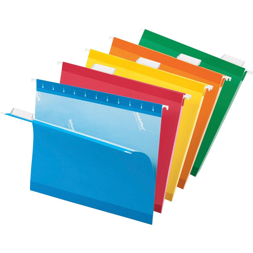 """Pendaflex Reinforced Hanging Folders - Letter - 8 1/2"""" x 11"""" Sheet Size - 1/5 Tab Cut - Blue, Red, Orange, Yellow, Green - Recycled - 25 / Box. Picture 1"""
