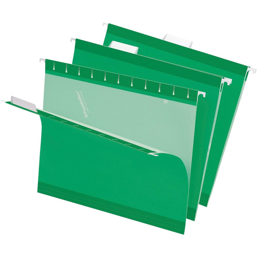 """Pendaflex 1/5 Tab Cut Letter Recycled Hanging Folder - 8 1/2"""" x 11"""" - Bright Green - 10% - 25 / Box. Picture 1"""
