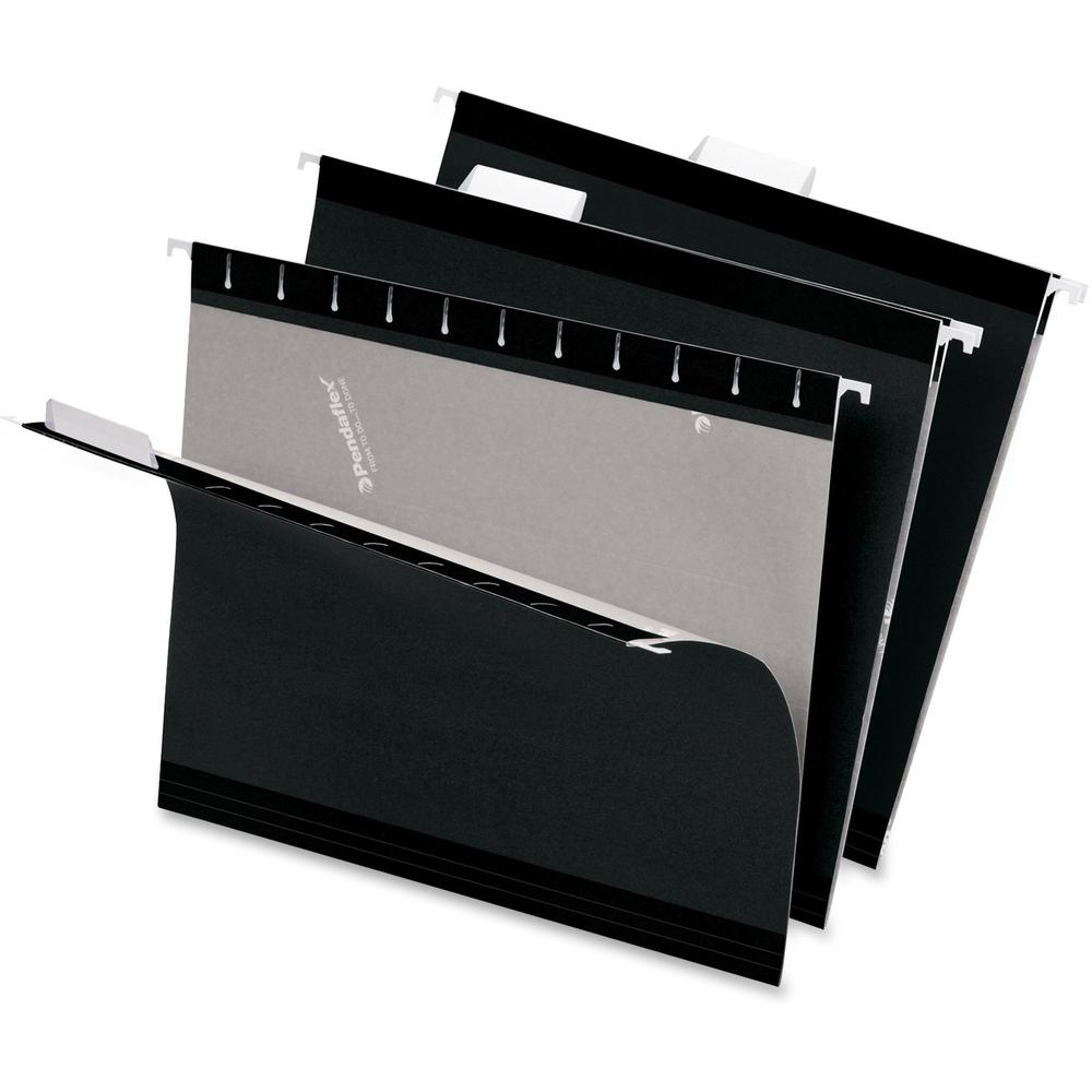"Pendaflex 1/5 Tab Cut Letter Recycled Hanging Folder - 8 1/2"" x 11"" - Black - 10% - 25 / Box. Picture 1"