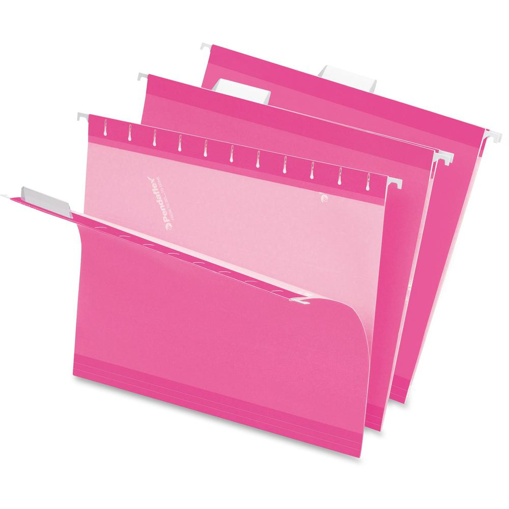 """Pendaflex 1/5 Tab Cut Letter Recycled Hanging Folder - 8 1/2"""" x 11"""" - Pink - 10% - 25 / Box. Picture 1"""