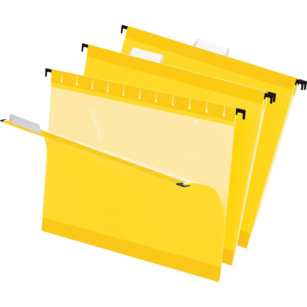 """Pendaflex 1/5 Tab Cut Letter Recycled Hanging Folder - 8 1/2"""" x 11"""" - Yellow - 10% - 25 / Box. Picture 1"""