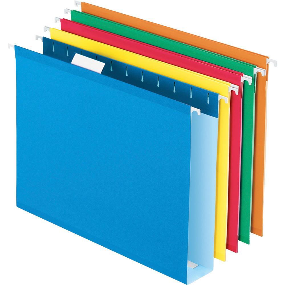 "Pendaflex Letter Recycled Hanging Folder - 2"" Folder Capacity - 8 1/2"" x 11"" - 1 Internal Pocket(s) - Pressboard - Assorted - 10% - 25 / Box. Picture 1"