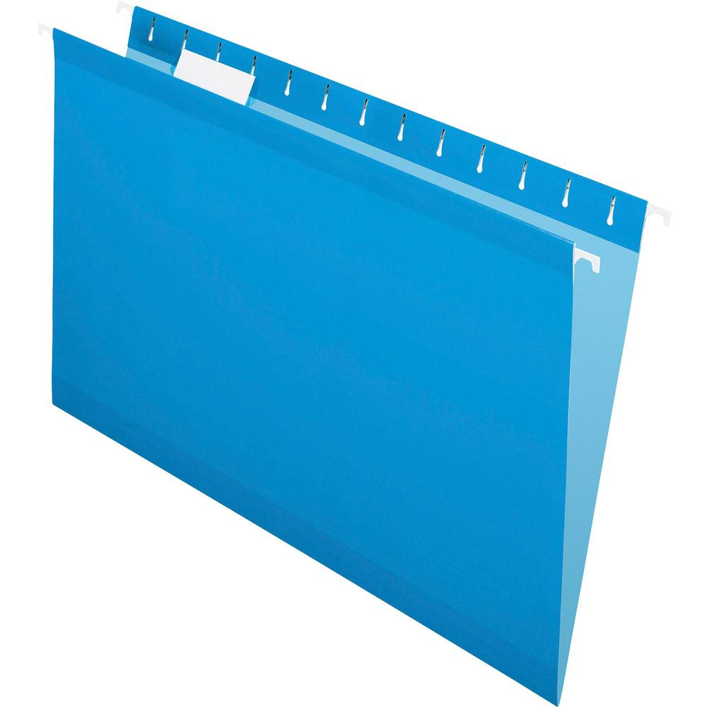 """Pendaflex 1/5 Tab Cut Legal Recycled Hanging Folder - 8 1/2"""" x 14"""" - Blue - 10% - 25 / Box. Picture 1"""