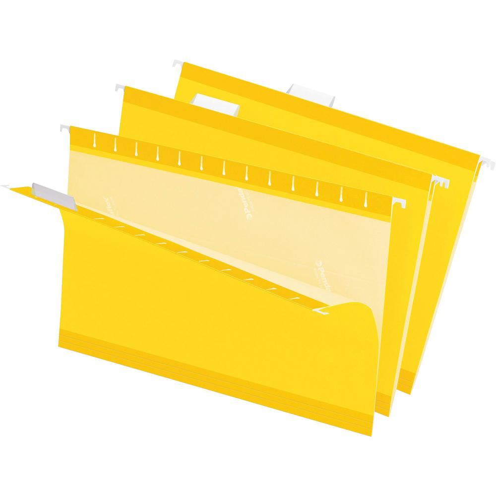 """Pendaflex 1/5 Tab Cut Legal Recycled Hanging Folder - 8 1/2"""" x 14"""" - Yellow - 10% - 25 / Box. Picture 1"""
