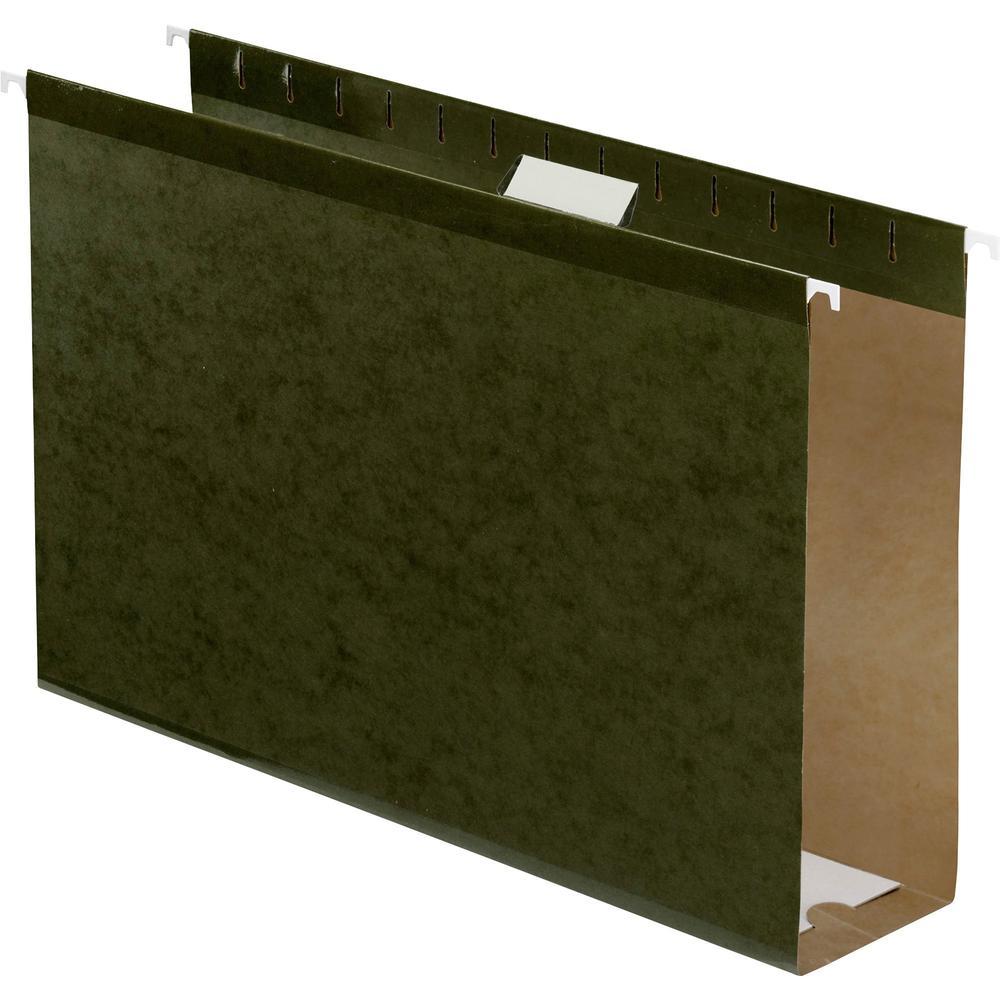 "Pendaflex Legal Recycled Hanging Folder - 3"" Folder Capacity - 8 1/2"" x 14"" - 3"" Expansion - Pressboard - Standard Green - 10% - 25 / Box. Picture 1"