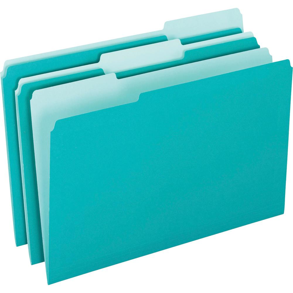 "Pendaflex 1/3 Tab Cut Letter Recycled Top Tab File Folder - 8 1/2"" x 11"" - Top Tab Location - Assorted Position Tab Position - Aqua - 10% - 100 / Box. Picture 1"