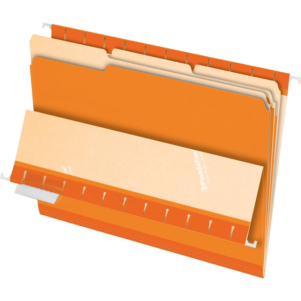"Pendaflex 1/3 Tab Cut Letter Recycled Top Tab File Folder - 8 1/2"" x 11"" - Orange - 10% - 100 / Box. Picture 1"