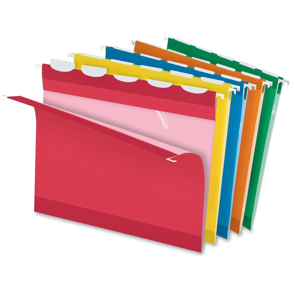 """Pendaflex Ready-Tab 1/5 Tab Cut Letter Recycled Hanging Folder - 8 1/2"""" x 11"""" - Assorted - 10% - 25 / Box. Picture 1"""