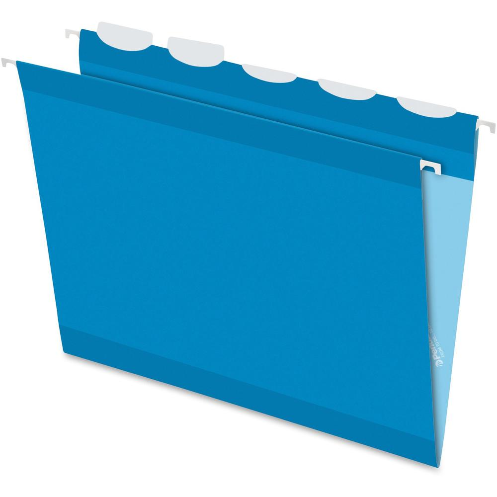 """Pendaflex Ready-Tab 1/5 Tab Cut Letter Recycled Hanging Folder - 8 1/2"""" x 11"""" - Blue - 10% - 25 / Box. Picture 1"""