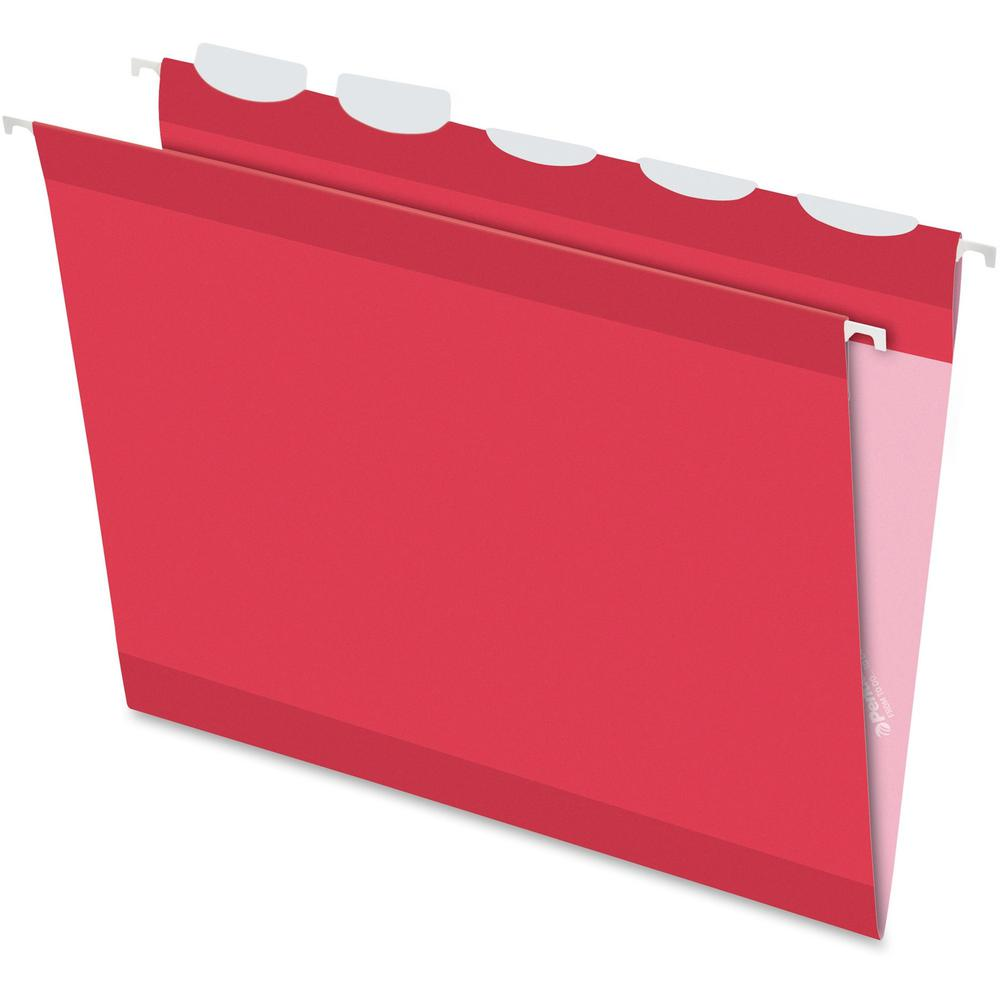 """Pendaflex Ready-Tab 1/5 Tab Cut Letter Recycled Hanging Folder - 8 1/2"""" x 11"""" - Red - 10% - 25 / Box. Picture 1"""