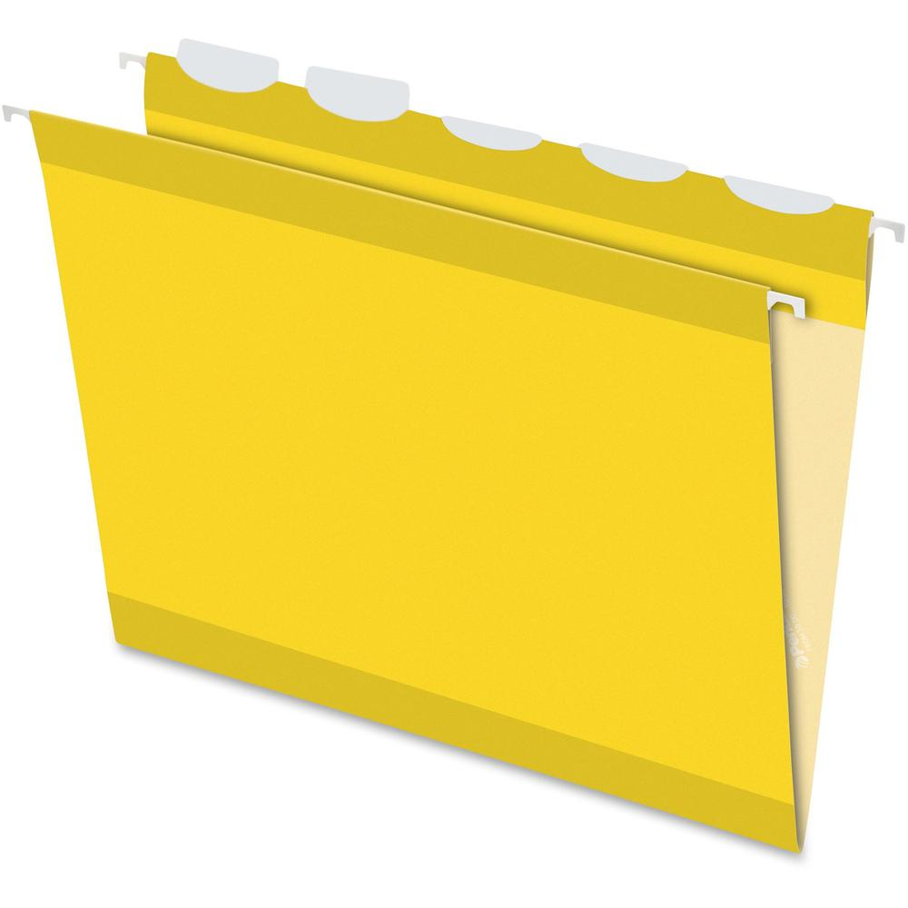 """Pendaflex Ready-Tab 1/5 Tab Cut Letter Recycled Hanging Folder - 8 1/2"""" x 11"""" - Yellow - 10% - 25 / Box. Picture 1"""