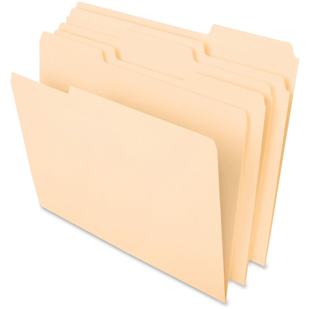 """Pendaflex Cutless File Folders - Letter - 8 1/2"""" x 11"""" Sheet Size - 1/3 Tab Cut - Top Tab Location - Assorted Position Tab Position - 11 pt. Folder Thickness - Paper Stock - Manila - Recycled - 100 / . Picture 1"""