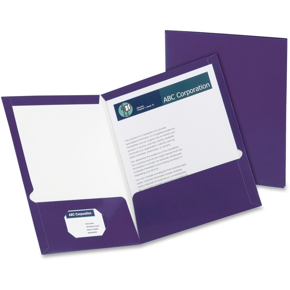 "Oxford Letter Pocket Folder - 8 1/2"" x 11"" - 150 Sheet Capacity - 2 Pocket(s) - Purple - 25 / Box. Picture 1"