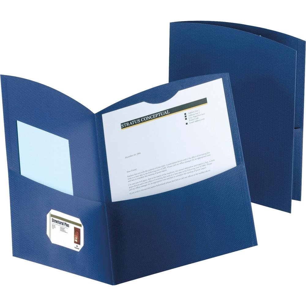"""Oxford Contour Letter Recycled Pocket Folder - 8 1/2"""" x 11"""" - 150 Sheet Capacity - 2 Pocket(s) - Embossed Paper - Dark Blue - 100% - 25 / Box. Picture 1"""