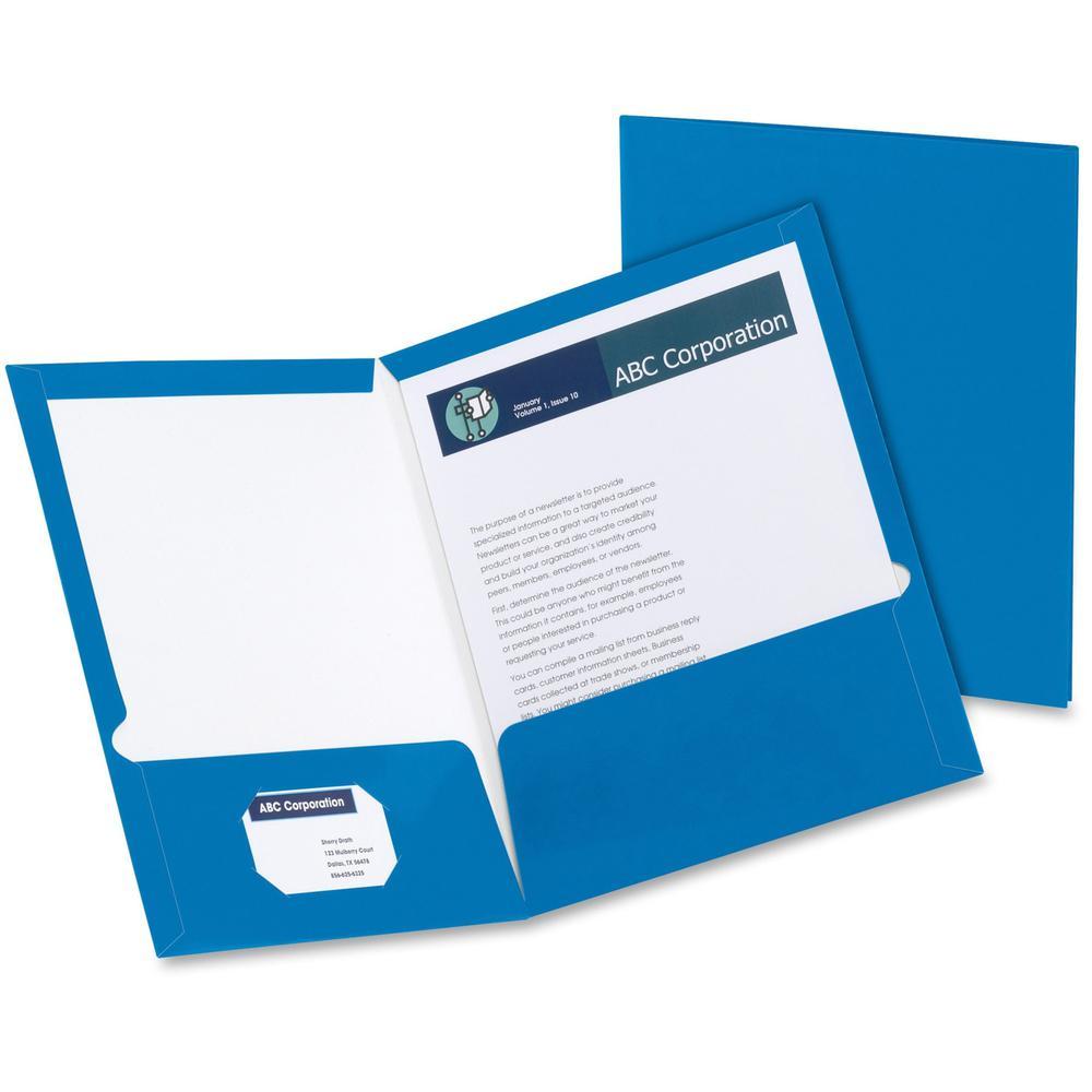 """Oxford Letter Pocket Folder - 8 1/2"""" x 11"""" - 2 Pocket(s) - Blue - 25 / Box. Picture 1"""