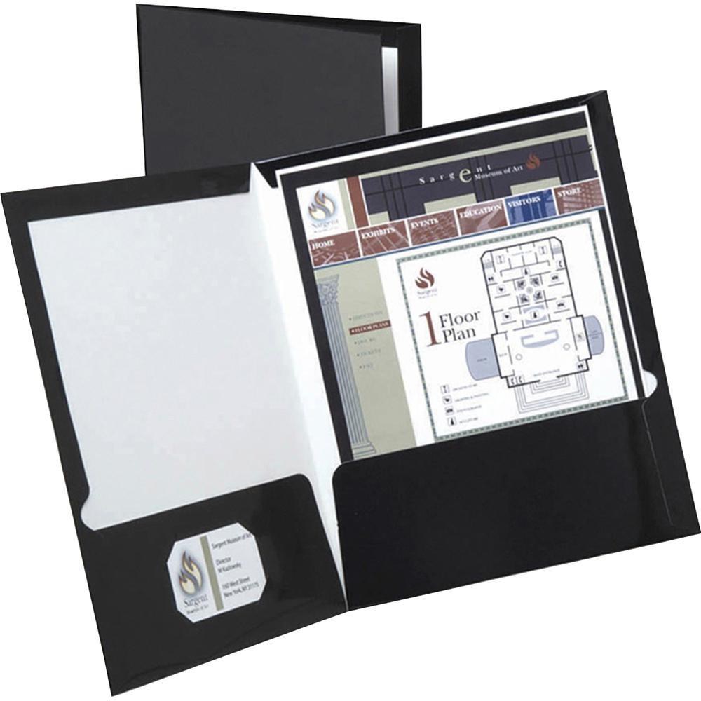 """Oxford Letter Pocket Folder - 8 1/2"""" x 11"""" - 2 Pocket(s) - Black - 25 / Box. Picture 1"""
