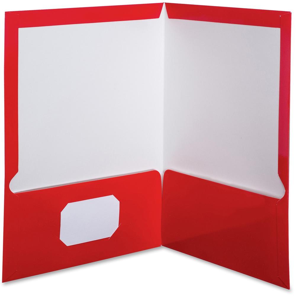 "Oxford Letter Pocket Folder - 8 1/2"" x 11"" - 100 Sheet Capacity - 2 Pocket(s) - Red - 25 / Box. Picture 1"