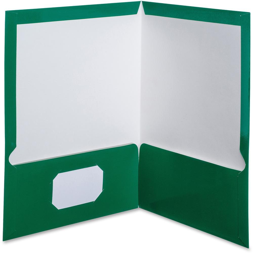 "Oxford Letter Pocket Folder - 8 1/2"" x 11"" - 100 Sheet Capacity - 2 Pocket(s) - Green - 25 / Box. Picture 1"