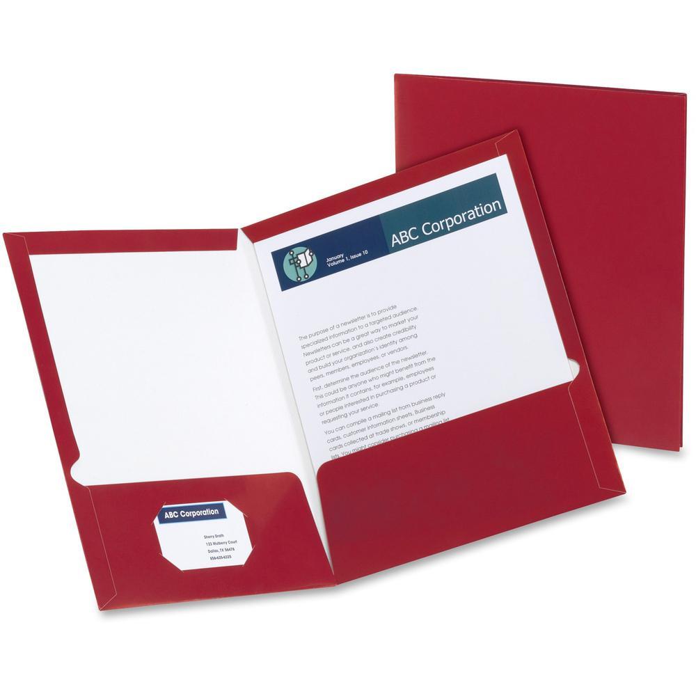"""Oxford Letter Pocket Folder - 8 1/2"""" x 11"""" - 2 Pocket(s) - Crimson Red - 25 / Box. Picture 1"""
