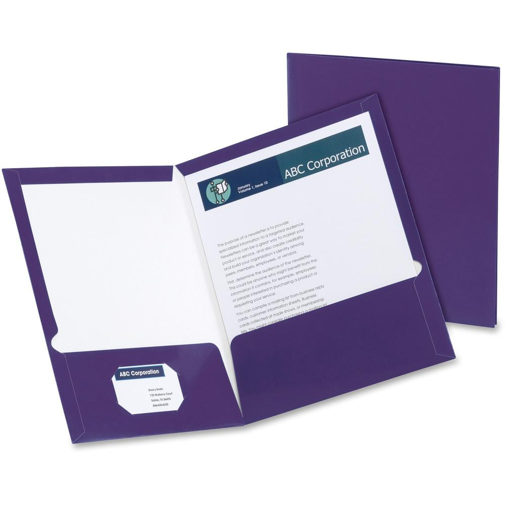 "Oxford Letter Pocket Folder - 8 1/2"" x 11"" - 100 Sheet Capacity - 2 Pocket(s) - Purple - 25 / Box. Picture 1"