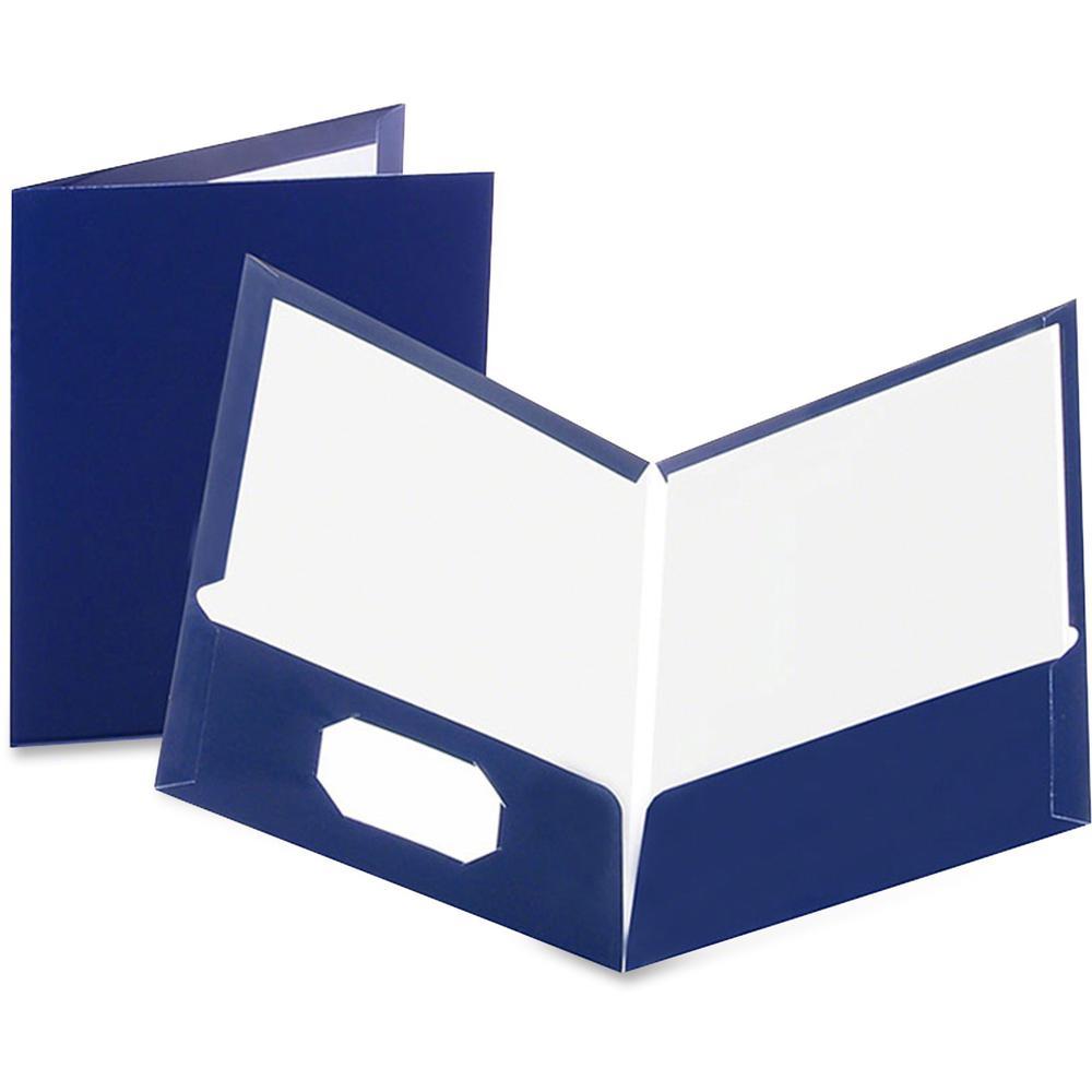 """Oxford Letter Pocket Folder - 8 1/2"""" x 11"""" - 100 Sheet Capacity - 2 Pocket(s) - Paperboard - Dark Blue - 25 / Box. Picture 1"""
