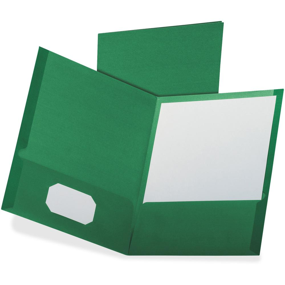 """Oxford Letter Recycled Pocket Folder - 8 1/2"""" x 11"""" - 100 Sheet Capacity - 2 Pocket(s) - Dark Green - 35% - 25 / Box. Picture 1"""