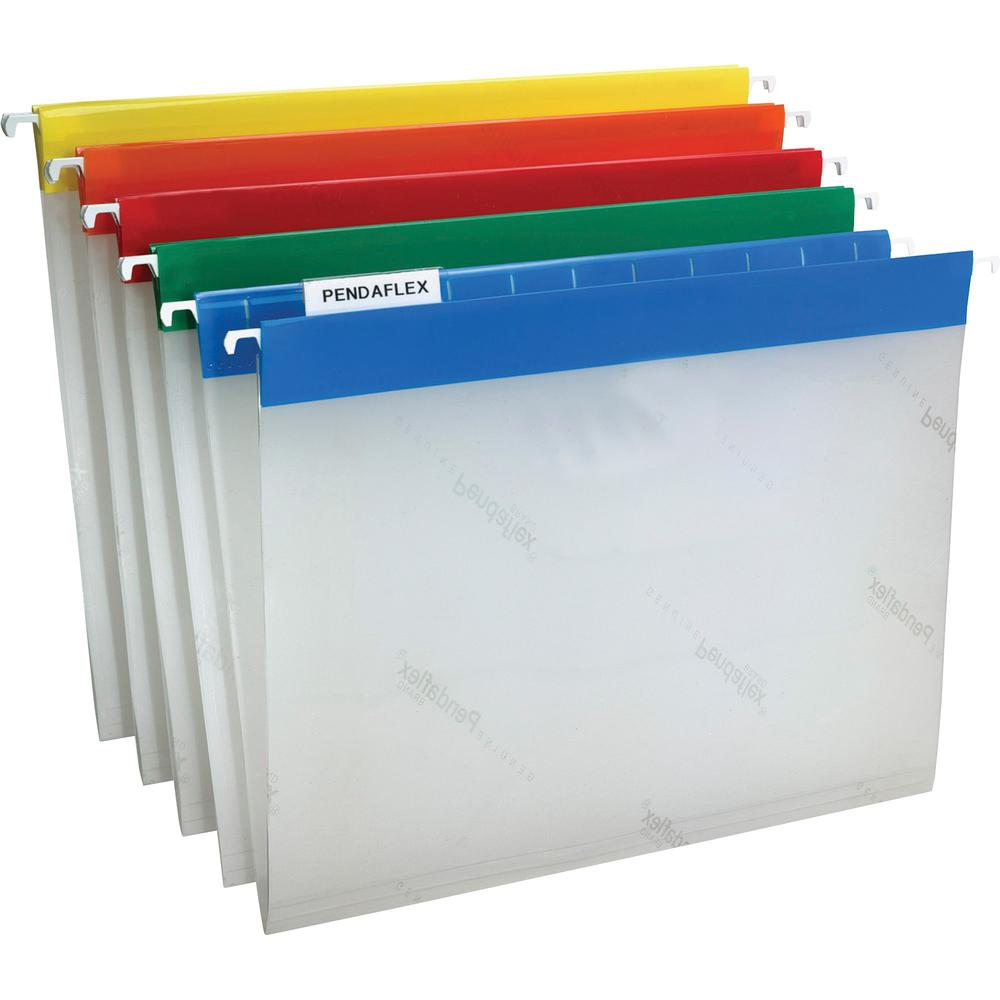 "Pendaflex EasyView 1/5 Tab Cut Hanging Folder - 9 1/4"" x 11 3/4"" - Assorted Position Tab Position - Poly - Blue, Yellow, Red, Orange, Green - 25 / Box. Picture 1"