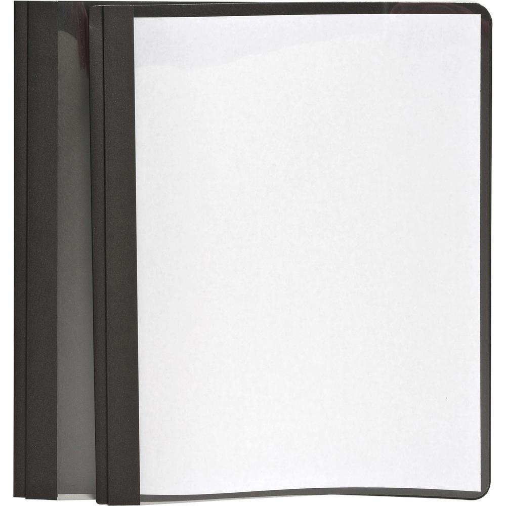 """Oxford Letter Report Cover - 8 1/2"""" x 11"""" - 100 Sheet Capacity - 3 x Tang Fastener(s) - 1/2"""" Fastener Capacity for Folder - Leatherette - Black, Clear - 25 / Box. Picture 1"""