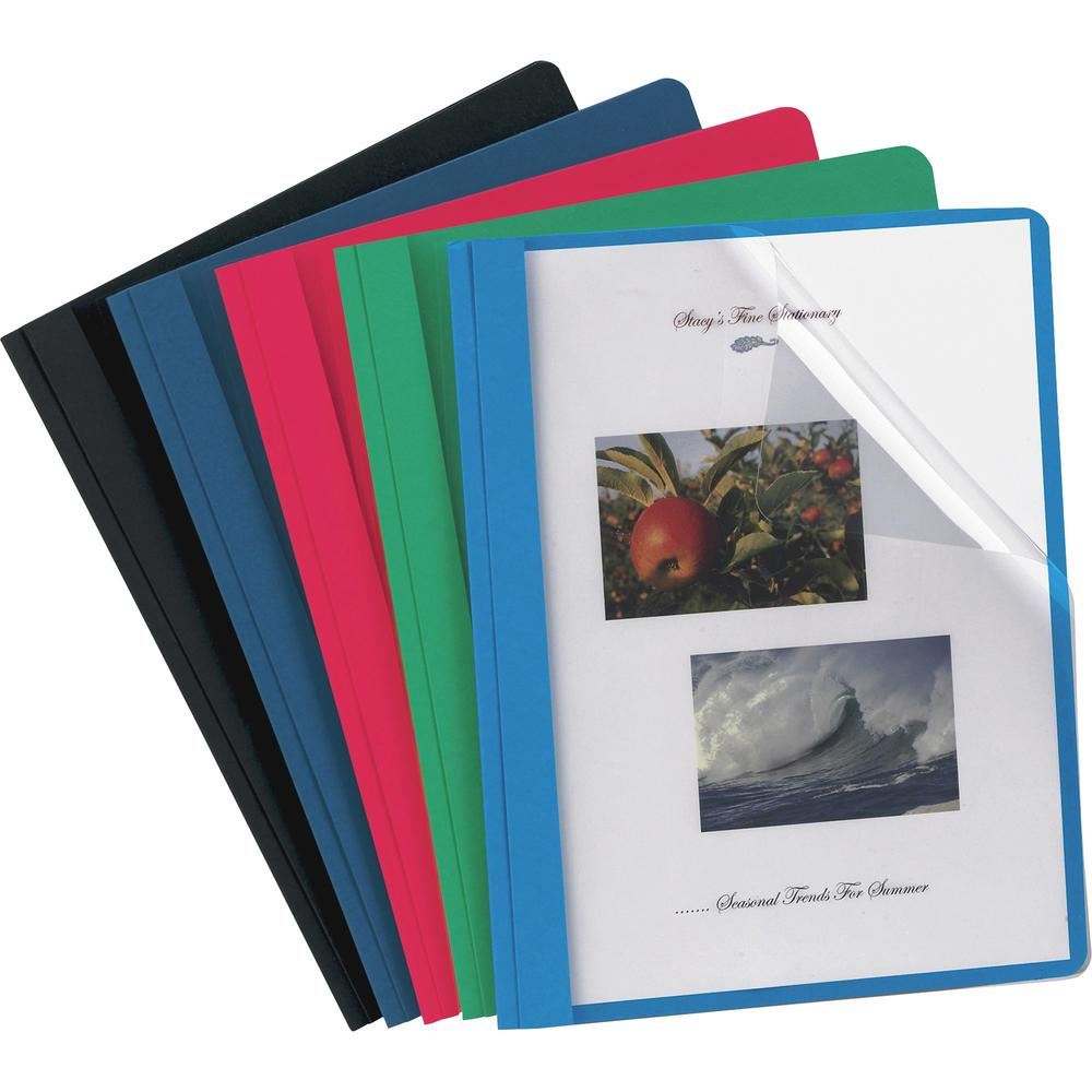 """Oxford Letter Report Cover - 8 1/2"""" x 11"""" - 3 x Tang Fastener(s) - 1/2"""" Fastener Capacity for Folder - Assorted - 25 / Box. Picture 1"""