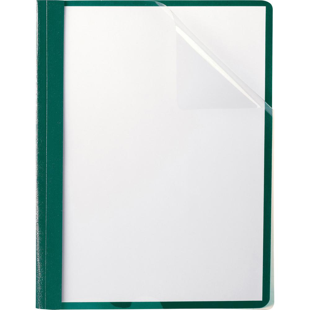 """Oxford Letter Recycled Report Cover - 8 1/2"""" x 11"""" - 100 Sheet Capacity - 3 x Tang Fastener(s) - 1/2"""" Fastener Capacity for Folder - Leatherette - Hunter Green - 10% - 25 / Box. Picture 1"""