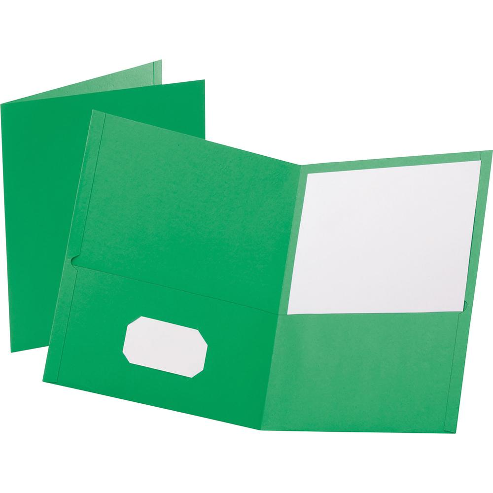 """Oxford Letter Recycled Pocket Folder - 8 1/2"""" x 11"""" - 100 Sheet Capacity - 2 Internal Pocket(s) - Leatherette Paper - Light Green - 10% - 25 / Box. Picture 1"""