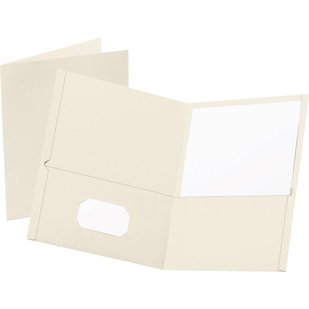 """Oxford Letter Recycled Pocket Folder - 8 1/2"""" x 11"""" - 100 Sheet Capacity - 2 Internal Pocket(s) - Leatherette Paper - White - 10% Recycled - 25 / Box. Picture 1"""
