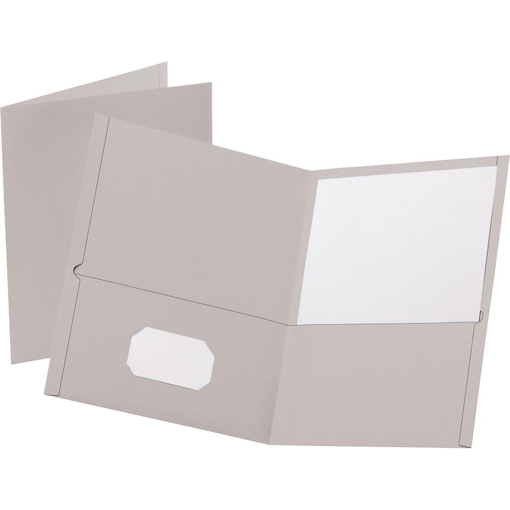 """Oxford Letter Recycled Pocket Folder - 8 1/2"""" x 11"""" - 100 Sheet Capacity - 2 Internal Pocket(s) - Leatherette Paper - Gray - 10% - 25 / Box. Picture 1"""