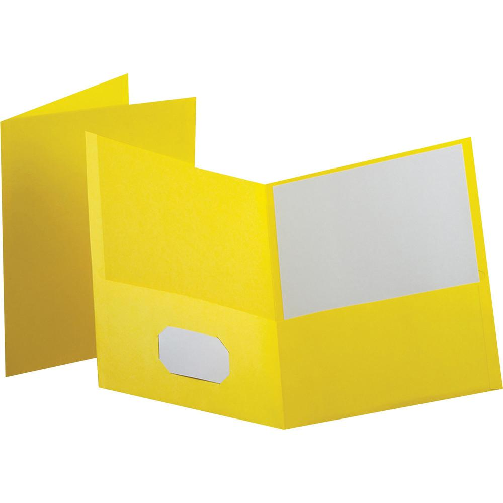 """Oxford Letter Recycled Pocket Folder - 8 1/2"""" x 11"""" - 100 Sheet Capacity - 2 Internal Pocket(s) - Leatherette Paper - Yellow - 10% - 25 / Box. Picture 1"""
